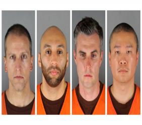 This combination of June 3, 2020, file photos, provided by the Hennepin County, Minn.m, Sheriff's Office, shows, from left, Derek Chauvin, J. Alexander Kueng, Thomas Lane and Tou Thao. (Hennepin County Sheriff's Office via AP)