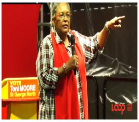 Prime Minister Mia Amor Mottley speaking at the political rally in Market Hill, St George