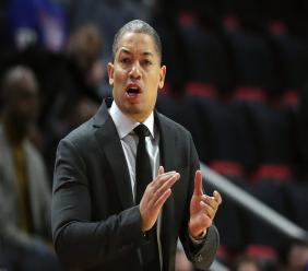 In this Thursday, Oct. 25, 2018, file photo, Cleveland Cavaliers head coach Tyronn Lue gestures during the first half of an NBA basketball game against the Detroit Pistons, in Detroit. (AP Photo/Carlos Osorio, File).
