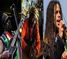 (From left) Toots Hibbert, Buju Banton and Skip Marley