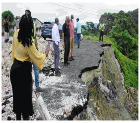 Sections of the roadway in King Street, St. Simon, St Andrew, have broken away as a result of land slippage.