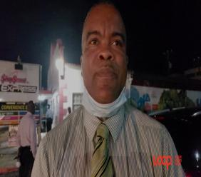 Acting Inspector Rodney Inniss at the scene