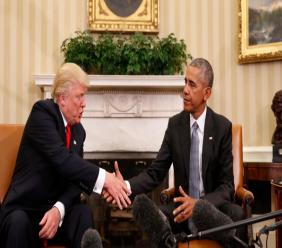 President Barack Obama shakes hands with President-elect Donald Trump in the Oval Office of the White House in Washington, Thursday, November 10, 2016.  (AP Photo/Pablo Martinez Monsivais)