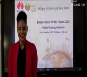 Host Talia Soares moderates the official virtual launch of Huawei's Seeds for the Future 2020.
