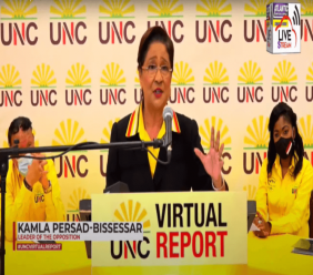 Photo: UNC leader Kamla Persad-Bissessar at the UNC's Virtual Report on November 2, 2020. Image taken from video.