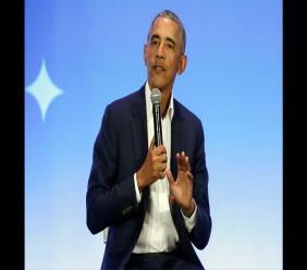 "This February 19, 2019, file photo shows former President Barack Obama speaking at the My Brother's Keeper Alliance Summit in Oakland, California. Obama's ""A Promised Land"" sold nearly 890,000 copies in the US and Canada in its first 24 hours, putting it on track to be the best selling presidential memoir in modern history. Photo: AP Photo/Jeff Chiu, File"
