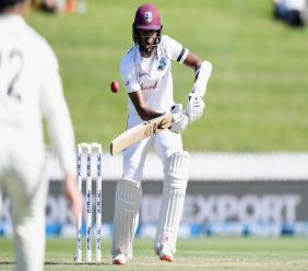 West Indies opener Kraigg Brathwaite batting during the second day of the 1st Test between New Zealand and the West Indies at Sneddon Park, Hamilton on 4 December 2020. (Photo courtesy CWI Media)