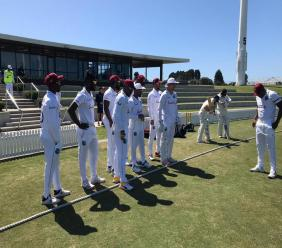 """West Indies """"A"""" team players line up before the second ay of their first-class match against New Zealand """"A"""" at the Bay Oval, Mout Maunganui, New Zealand. (Photo credit - Cricket West Indies Media)"""