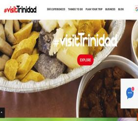 The Visit Trinidad website gives users detailed information about events, activities, virtual tours and the ability to chat with tourism professionals.