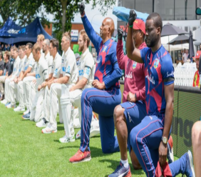 Members of the New Zealand and West Indies Test teams take a knee in support of the Black Lives Matter cause against injustice and racism, before the 1st Test began at Hamilton, New Zealand. (Photo credit - Cricket West Indies Media)