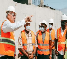 Prime Minister Hon Allen Chastanet visits the St Jude Hospital Construction site in Vieux Fort
