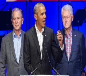 Barack Obama, George W. Bush et Bill Clinton, le 25 avril 2013 à Dallas, au Texas ALEX WONG GETTY IMAGES NORTH AMERICA/AFP