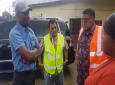 Photo: Prime Minister Dr Keith Rowley, Works and Transport Minister Rohan Sinanan, Terry Rondon, and MP Jennings-Smith assess flood damage in Sangre Grande.