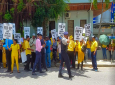 Photo: Citizens march outside the office of the Prime Minister calling for an apology over the yellow 'sari skit'.