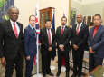 From left to right: High Commissioner for Trinidad and Tobago to the United Kingdom, Orville London; His Excellency Tim Stew, High Commissioner for the United Kingdom to Trinidad and Tobago; Lord Tariq Ahmad of Wimbledon, Minister of State for the Commonwealth and United Nations; Stuart Young, Minister of National Security; Rear Admiral Hayden Pritchard, Chief of Defence Staff, Trinidad and Tobago Defence Force; Gary Griffith, Commissioner of Police, Trinidad and Tobago Police Service.