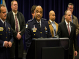 """Chicago Police Supt. Eddie Johnson speaks during a press conference at CPD headquarters, Thursday, Feb. 21, 2019, in Chicago, after actor Jussie Smollett turned himself in on charges of disorderly conduct and filing a false police report. The """"Empire"""" staged a racist and homophobic attack because he was unhappy about his salary and wanted to promote his career, Johnson said Thursday. (Ashlee Rezin/Chicago Sun-Times via AP)"""