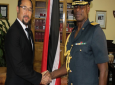 Minister of National Security Stuart Young congratulates the incoming Chief of Defence Staff Air Commodore Darryl Daniel. Photo courtesy The Ministry of National Security.