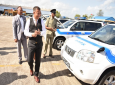 Police Commissioner Gary Griffith smiles as he receives police vehicles refurbished by VMCOTT. Photo courtesy The Trinidad and Tobago Police Service (TTPS).