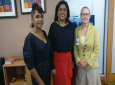 Trade Minister Paula Gopee-Scoon (centre), flanked by Ms Camille Selvon Abrahams, Animae Caribe founder (left)and Ms Joan Vogelesang, International Animation Consultant (right).