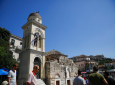 The bell tower of Pantanassa church at the Monastiraki square is damaged following an earthquake in Athens, Friday, July 19, 2019. (AP Photo/Petros Giannakouris)