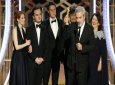 """This image released by NBC shows filmmaker Sam Mendes accepting the award for best motion picture drama for """"1917"""" at the 77th Annual Golden Globe Awards at the Beverly Hilton Hotel in Beverly Hills, Calif., on Sunday, Jan. 5, 2020. (Paul Drinkwater/NBC via AP)"""
