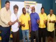Pictured: UNC candidate for San Fernando West Sean Sobers (third from left) gives a thumbs up following a cottage meeting in the constituency on July 13, 2020. Photo via Facebook, Sean Sobers - UNC Candidate for San Fernando West 2020.
