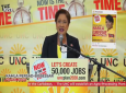 Pictured: UNC leader Kamla Persad-Bissessar speaks at a virtual political meeting on July 2, 2020.
