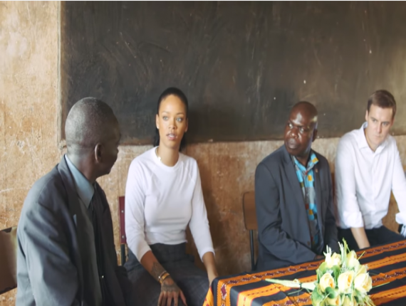 FILE - Rihanna during a visit to schools in Malawi earlier this year.