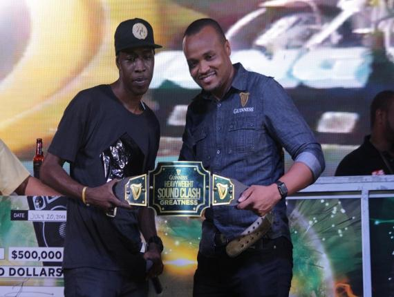 Tony Matterhorn collects his Guinness Heavyweight Sound Clash championship belt. (Photos: Marlon Reid)