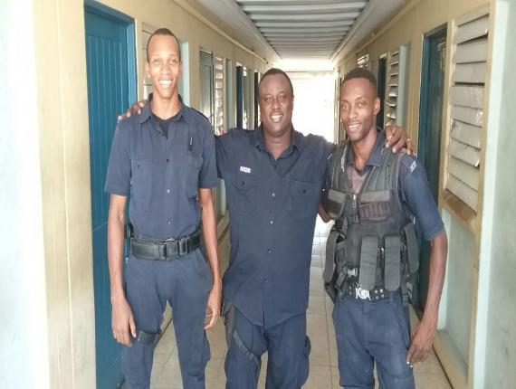 Sergeant Dorial Whyte (centre) with constables Gill Fillian (left) and Sylvester Reid.