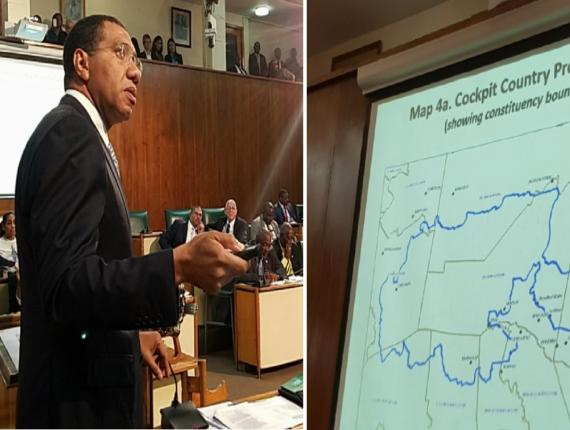 Prime Minister Andrew Holness presents on the Cockpit Country Protected Area in Parliament on Tuesday. (PHOTO: Twitter)