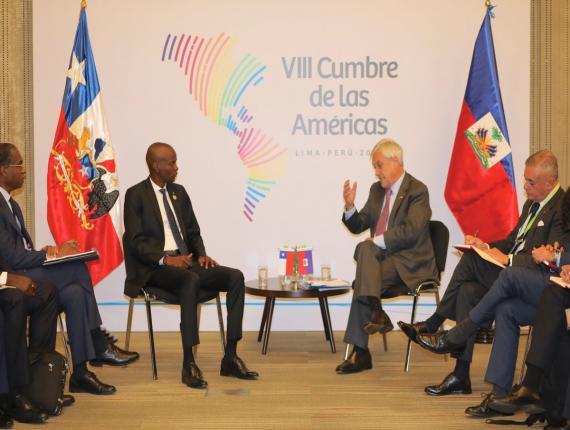 Jovenel Moïse et Sebastian Pinera, président du Chili, se sont rencontrés à Lima, 14 avril dernier./ Photo : Président Jovenel Moïse (Twitter)