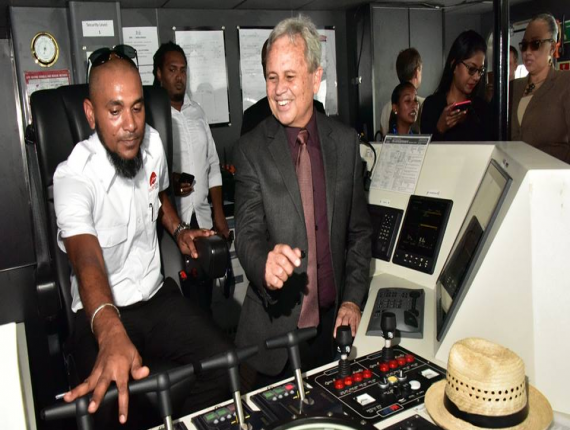 Minister of Finance, Colm Imbert and media tour the newly berthed Galleons Passage