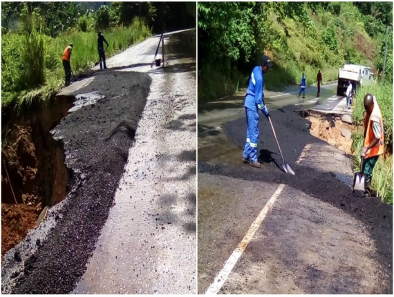 Photo: On September 18, 2018, The Ministry of Works and Transpory advised of single-lane traffic along the North Coast road near the 11-km mark as a result of a landslide. Photo courtesy the MOWT.