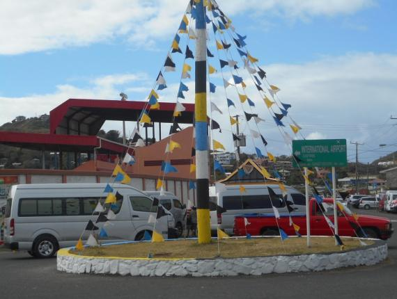 A decoration in Vieux-Fort South to celebrate Independence Day