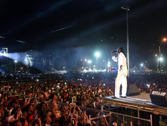 Buju Banton performs on stage in Trinidad & Tobago.