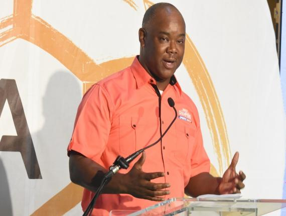 Oliver McIntosh, Chief Executive Officer at Sportsmax, speaks during the launch of the 2019 schoolboy football season on Wednesday, August 21 at the Terra Nova All Suite Hotel. (PHOTO: Marlon Reid).
