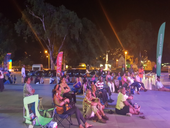 Patrons with tickets were forced to watch the All Jazzed Up show on a big screen erected outside NAPA to accommodate those without tickets.