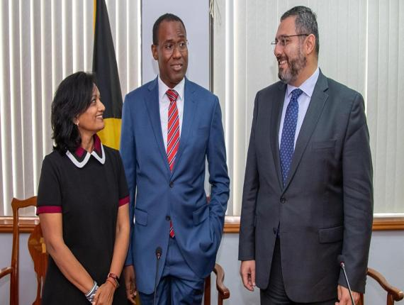 Finance Minister Dr Nigel Clarke (centre) was joined by IMF Chief of Mission to Jamaica Dr Uma Ramakrishnan (left) and IMF Resident Representative in Jamaica Karim Youssef (right) for a media roundtable on Friday. (Photo: Shawn Barnes)
