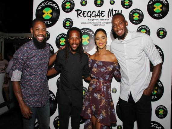 Olympian Usain Bolt (right) shared the frame with (from left) Sagicor financial advisor Oneil Brissett; retired footballer Ricardo 'Bibi' Gardner; and Reggae Mill principal Orlease King. (Photos: Llewelyn Wynter)