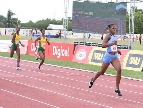 Edwin Allen's ace sprinter Kevona Davis wins the Girls' Class 1 200m in a meet record 23.30 seconds at  the Central Athletics Championships, at the GC Foster College in Spanish Town, on Wednesday, February 19, 2020. (PHOTO: Marlon Reid).