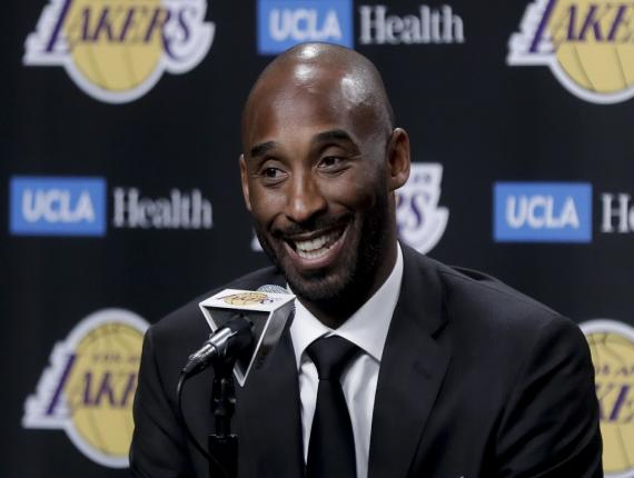 In this Dc. 18, 2017 file photo, former Los Angeles Laker Kobe Bryant talks during a news conference in Los Angeles. Bryant and fellow NBA greats Tim Duncan and Kevin Garnett headlined a nine-person group announced Saturday, April 4, 2020, as this year's class of enshrinees into the Naismith Memorial Basketball Hall of Fame. (AP Photo/Chris Carlson, File).