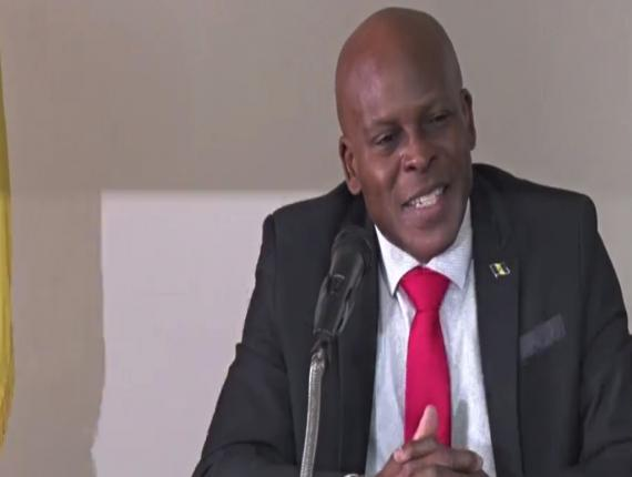 Minister of Home Affairs Edmund Hinkson speaking at the DEM presser held on May 30.