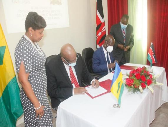 Signing of Joint Communiqué establishing formal diplomatic relations between St Vincent and the Grenadines and the Republic of Kenya