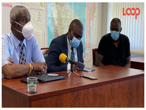 (From Left) Acting chief medical officer Dr Kenneth George, Isolation facilities manager, DrCorey Forde and director of the COVID-19 Monitoring Unit, Ronald Chapman speaking to the media at the Ministry of Health and Wellness headquarters.