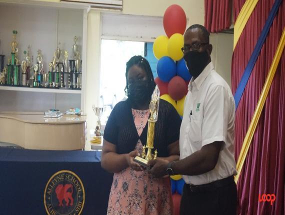 Alleyne School Speech Day Awardee, Denica Scott as she received one of her many awards