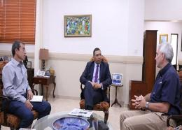 Prime Minister Andrew Holness reiterated his commitment to Food for the Poor following a meeting with the organisation's chairman Andrew Mahfood and his deputy Chris Bicknell.