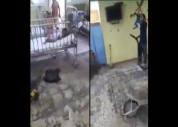 Screenshot of video showing construction work being done at the Savanna-la-Mar Hospital's paediatric ward while occupied by children.