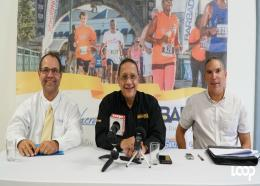 (L-R) CEO of Cave Shepherd & Co., John Williams; CEO of the BTMI, William Griffith and event organiser, Zary Evelyn at the recent launch of Run Barbados 2017. (PHOTO: Richard Grimes)