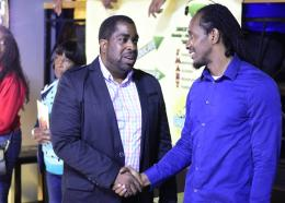 CEO of Sun City Radio, Steve Billings (left) with East Central St Catherine MP Alando Terrelonge at the launch. (PHOTOS: Marlon Reid)